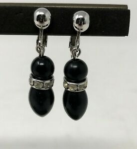 Sarah-Coventry-Woman-s-Earrings-Signed-Vintage-Black-Dangle-Rhinestone-Clip-on