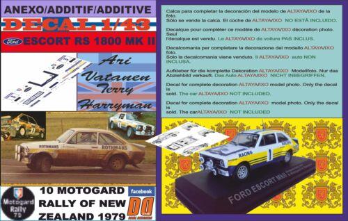 01 ANEXO DECAL 1//43 FORD ESCORT RS 1800 MK II ROTHMANS A.VATANEN R NEW ZEALAND