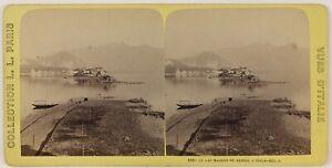 Italia Il Lac Maggiore Foto Stereo Th2n60 Vintage Albumina c1875