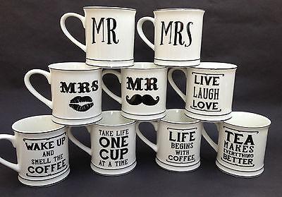WEDDING GIFTS BLACK & WHITE WEDDING MUGS WEDDING FAVOURS TEA COFFEE MR MRS MUGS