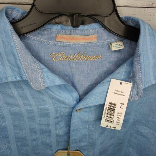 CARIBBEAN ROUNDTREE /& YORKE MEN/'S SZ XL LINEN LS SHIRT $80 CANAL BLUE