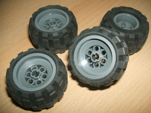 Lego 4 Large GREY Balloon Wheels 43.2 x 28 S soft Pneumatic Rubber Tyres