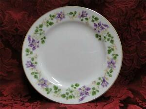 """Noritake Therese, 5158, Purple Floral, Gold Trim: Bread Plate (s), 6 3/8"""""""