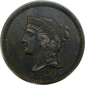 1854-1C-PATTERN-J-160-BRAIDED-HAIR-PCGS-PF63-RARE-amp-CHOICE-ORIGINAL-PATINA