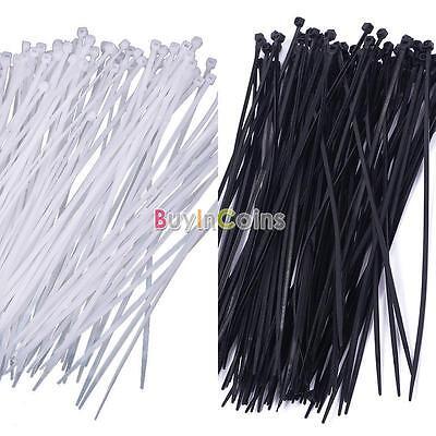 "Lot 100pcs 8"" 3x200mm Nylon Plastic Cable Ties Zip Wire Wrap Strap New BA"