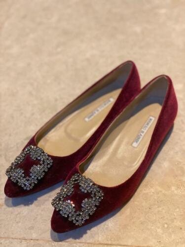 Manolo Blahnik Red Velvet Hangisi Flats Size 38