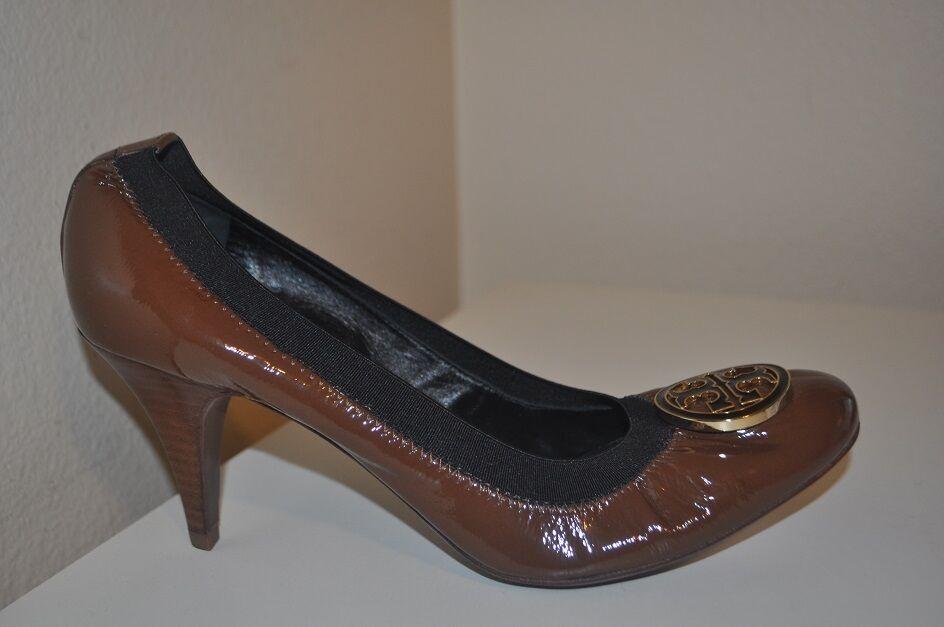 Caroline 275+ con el logotipo de Tory Burch Caroline  Bomba de Charol Marrón Zapato de tacón medio 10.5 7c7eb8