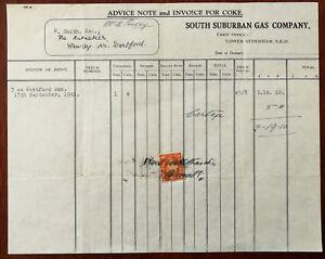 South-Suburban-Gas-Company-Lower-Sydenham-Bromley-London-Billhead-for-Coke-1941