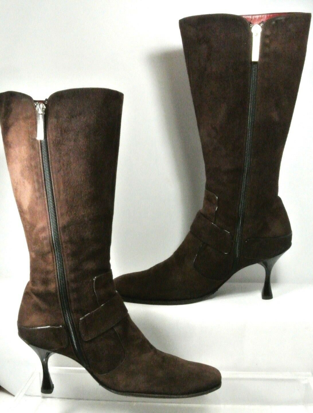 Luciano Strap Padovan Braun Suede Buckle Strap Luciano High Heel Boot Damens US10 Made in  9e5d99