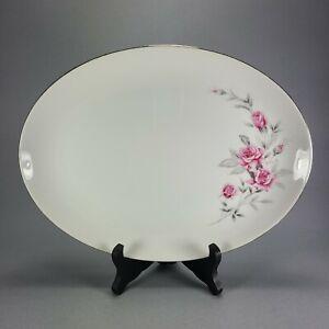 """Vintage Gambels Fine China Rosalinda Pink Rose Oval Platter 12"""" Japan"""
