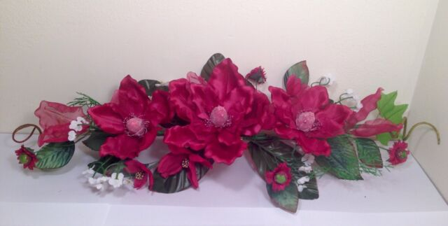 "24"" BURGUNDY Silk Crinkle Magnolia Swag Artificial Flower Home Wedding Decor"