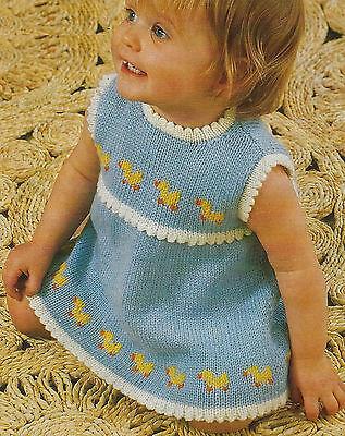 "Baby Girls Dress with Ducks motif Knitting Pattern 19-21"" DK 686"