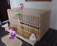 Babybett Gitterbett Kinderbett Set 70x140 Schublade Umbaubar MASSIV Gravur