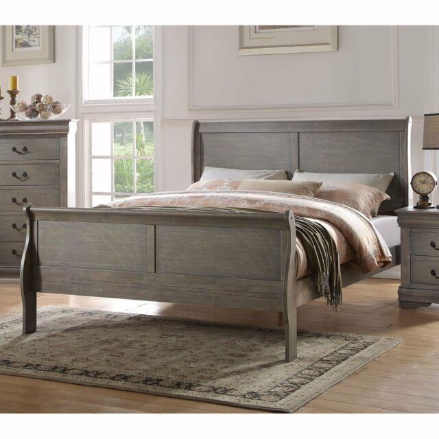 Acme Louis Philippe Antique Gray Wood, Queen Bed Frame With Headboard And Footboard Wood