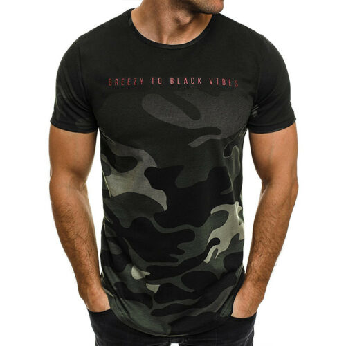 Mens Muscle Fitness T-shirt Camo Crew Neck Short Sleeve Soft Tops Gym Pullover