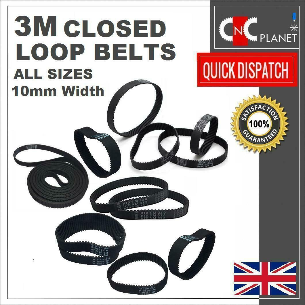 3M 3mm Pitch 10mm Width Closed Loop Synchronous HTD Timing Belt 3M Pulley UK