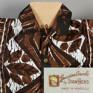 Vtg 60s NOS Hawaiian Casuals by Stan Hicks Mens Medium NWT Atomic Retro Shirt