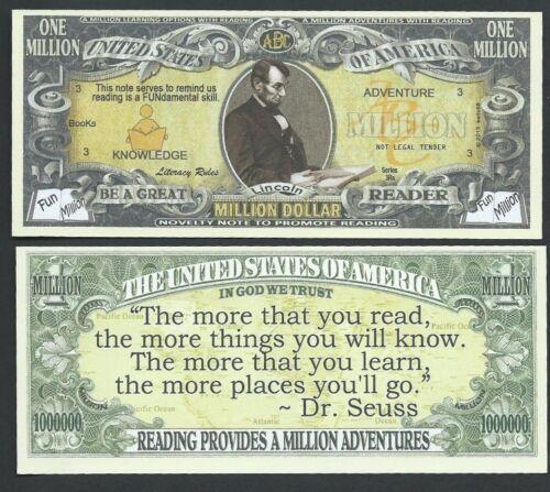 Lot of 100 BILLS- Abraham Lincoln Reading Adventure Million Dollar Novelty Bill
