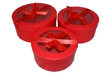 Round Florist Flower Hat boxes Set of 2 Red 4636