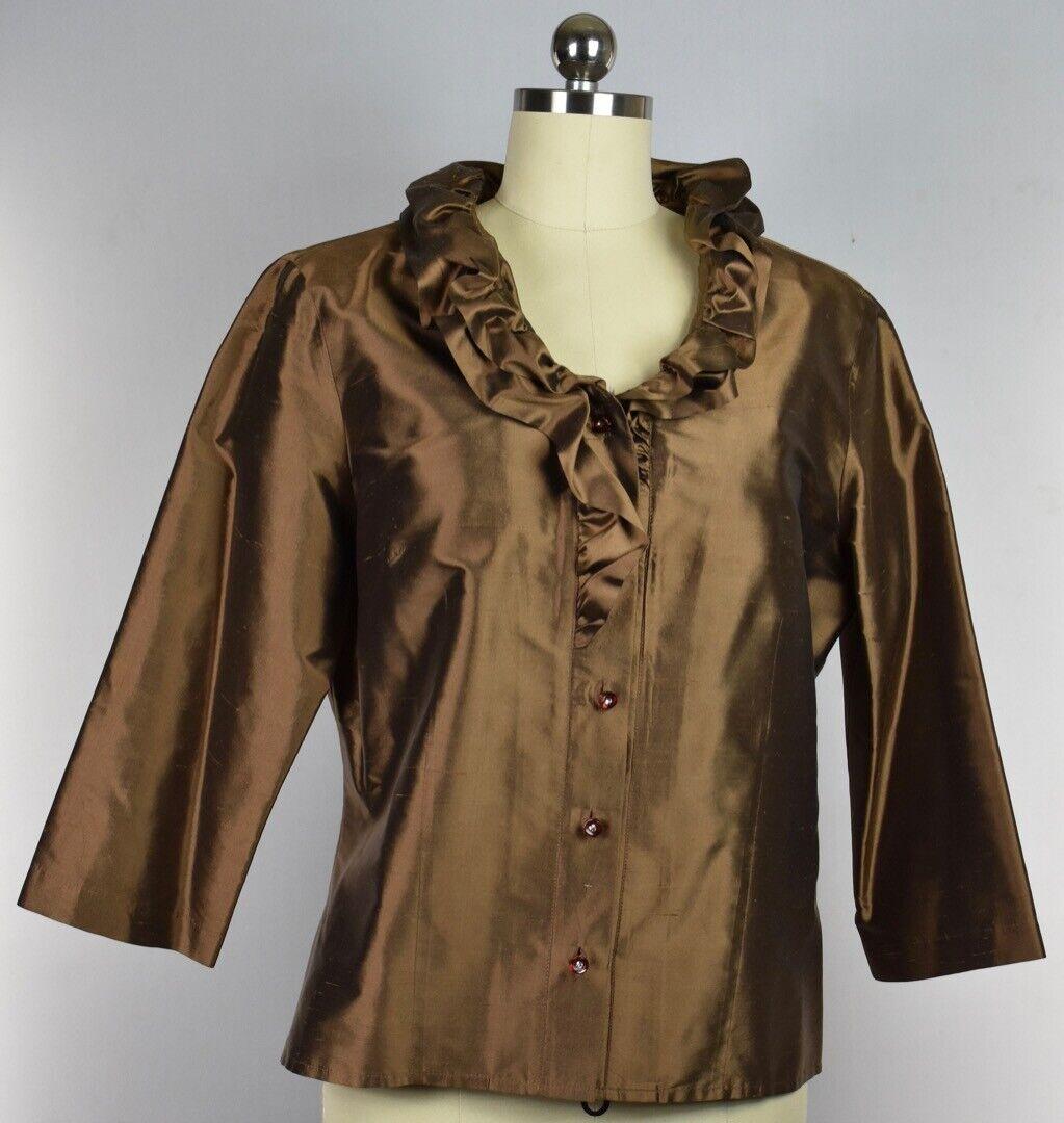 Connie Roberson Woherren Silk Button Down Top Blouse Shirt Größe M Made In USA