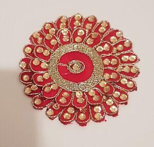 applique trim lace black Indian wedding dance costume crystal asian flower patch