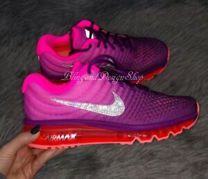 NWT Womens Nike Air Max 2017 Nike Shoe Custom with Swarovski Crystal ... 0f3c66b236