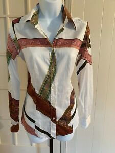 Etro Women's Shirt Button Down Collar Blouse 100%Cotton Italy 42/S