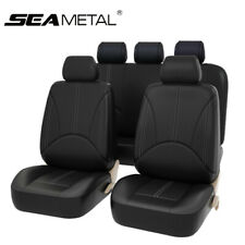 9pcs Car Seat Covers Pu Leather Front Rear Cushion Universal Protector Full Set