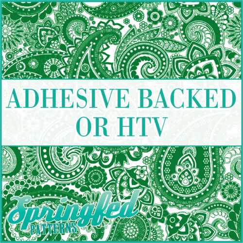 Kelly Green /& White Paisley Pattern Adhesive Vinyl or HTV for Crafts or Shirts