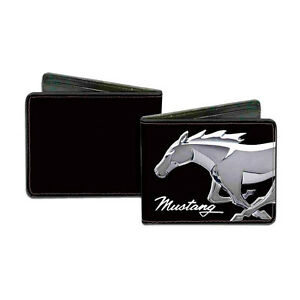 NEW FORD MUSTANG PONY MAN MADE BLACK LEATHER BI FOLD WALLET! MADE IN USA!
