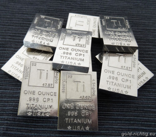 """10x 1 OZ TITANBARREN /""""ELEMENT/"""" 1 Unze avdp Titan Barren 10 Unzen Neu .996 CP1"""