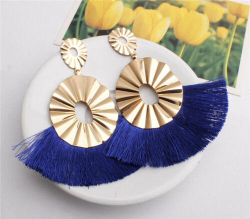 Women Elegant Fashion Long Tassel Earrings Bohemian Fringe Drop Dangle Earring
