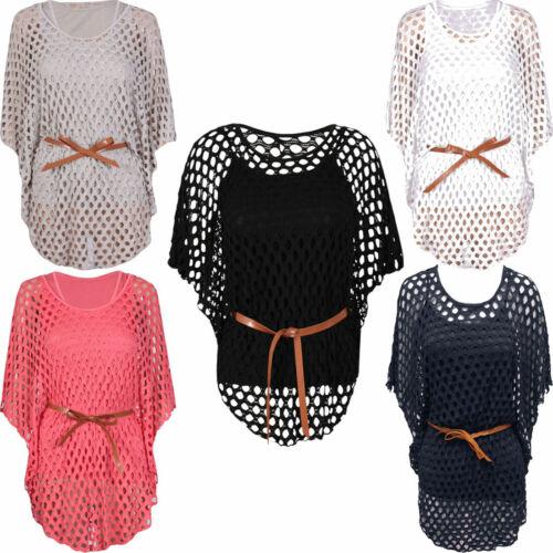 Femme ceinture cravate Maille Crochet Batwing Sleeve Causal Nouveauté Neuf