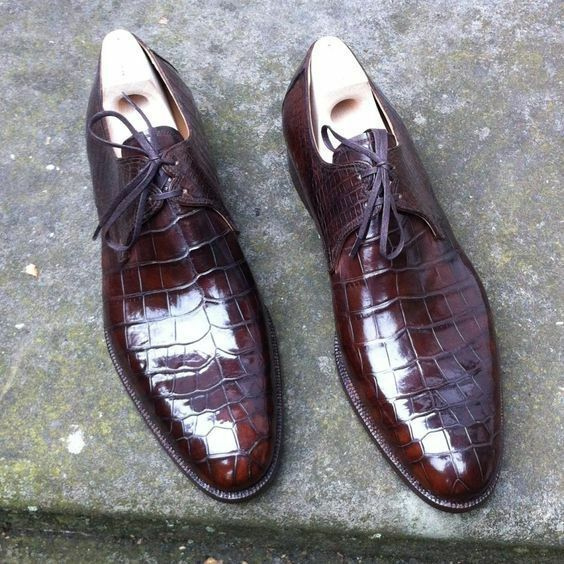 Uomo,s Handmade Brown Pelle Shoes, Formal Crocodile Texture Pelle Uomo Shoes