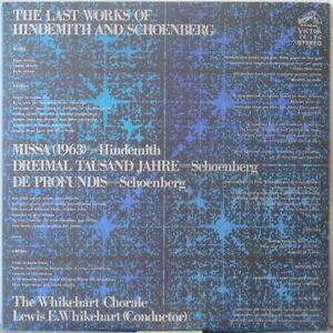 HINDEMITH / SCHOENBERG The Last Works Of LP Missa/Dreimal Tausand Jahre/De Profu