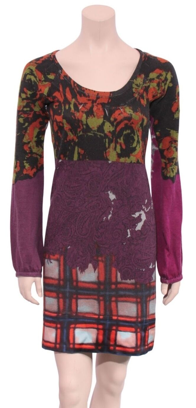 ETRO Silk Cashmere Printed Sweater Dress (SIZE 40)