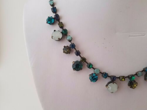 Green Crystal Necklace /& Earrings ~ Vintage Set by AVON