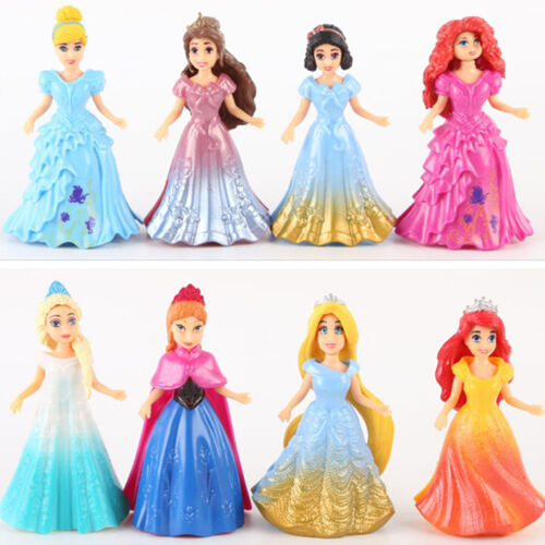 8PCS Princess Tangled Cinderella Aurora Belle Playset Toys Magiclip Figures Doll
