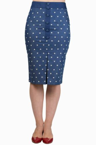 Blue Heart Dots Rockabilly Vintage 50/'s Retro Pencil Skirt By Banned Apparel