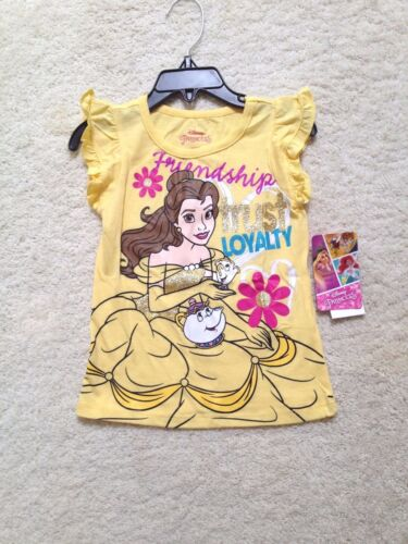 4-6x Court Slv Nouveau Disney Jaune Belle Princesse Beauty /& Beast T-shirt Filles
