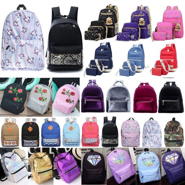 Women Girls Canvas Backpack Shoulder Bag School Rucksack Students Travel Satchel