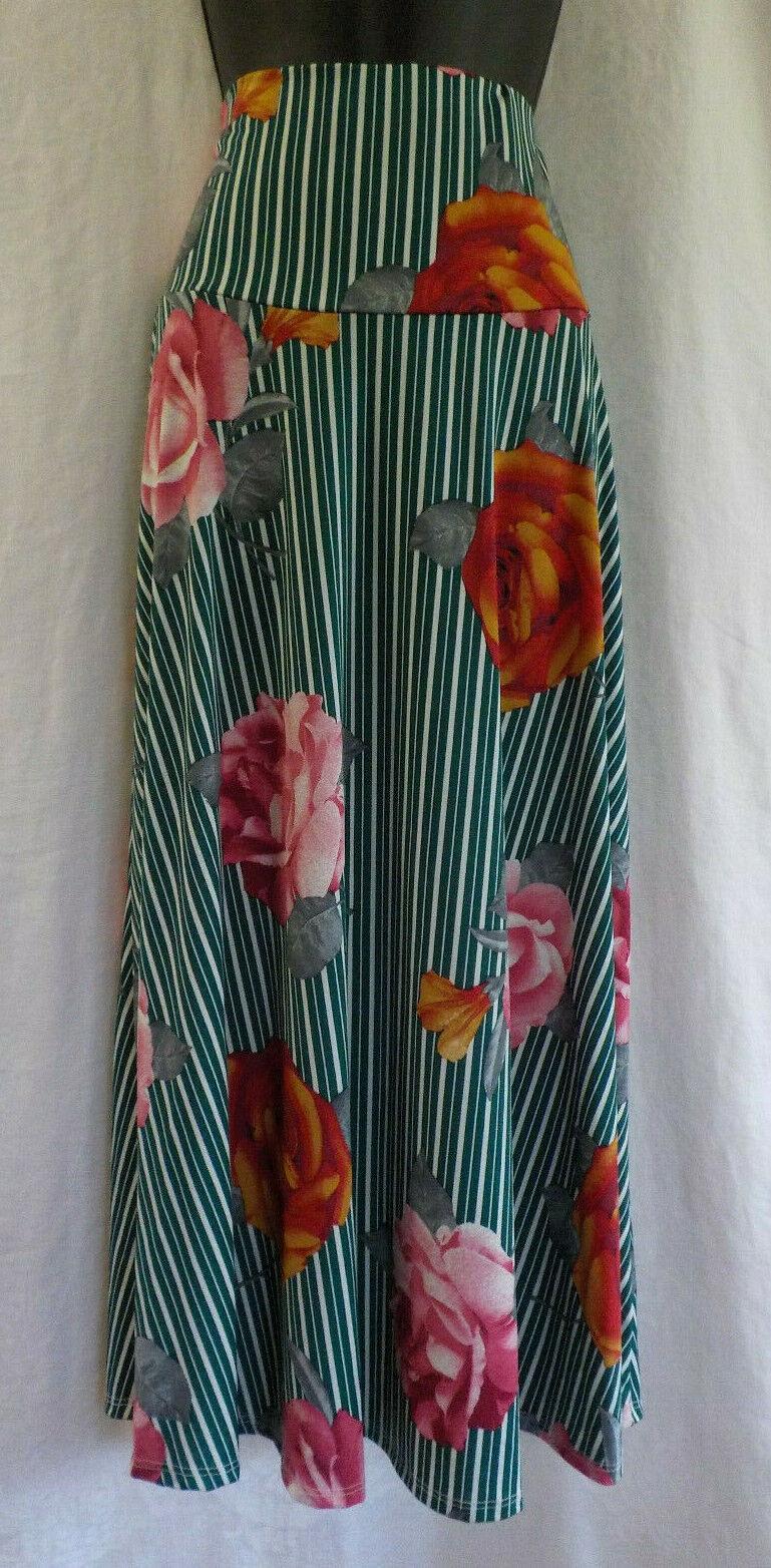 Ashley bluee Stretch Maxi Skirt NWT pinks On Stripe Polyester Blend Versatile USA