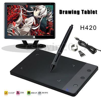 "4""  USB Art Design Graphics Drawing Tablet Pad + Digital Pen For Huion H420"
