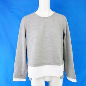 ROSSO35-Femmes-Pull-Taille-It-42-de-36-Doux-Laine-Gris-Blanc-2-IN-1-Np-249-Neuf