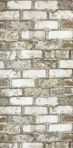 Vinyl Wallpaper textured brown gray white rustic realistic faux brick texture 3D