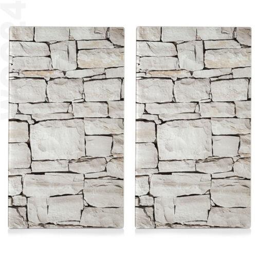2x Herdabdeckung Herdabdeckplatten Ceranfeld Schneidebrett Abdeckung Glas Stein