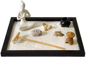 Ufficio Zen Zen : Giardino zen in legno con sabbia statua e accessori da scrivania
