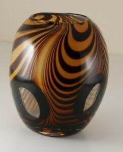 Murano-Mid-Century-Tiger-Stripe-Vase-Art-Glass-Hand-Blown-Window