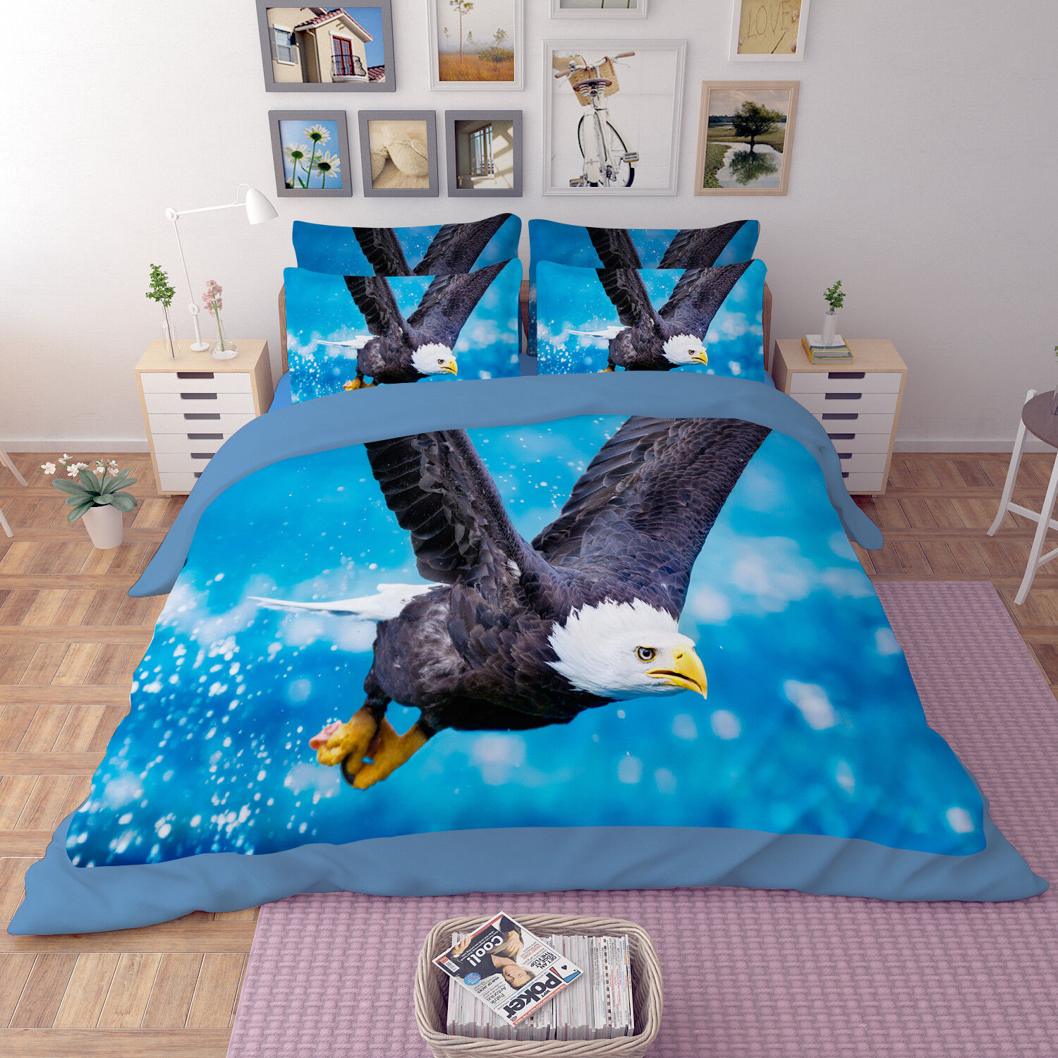 3D Eagle Nature 99 Bed Pillowcases Quilt Duvet Cover Set Single Queen King CA