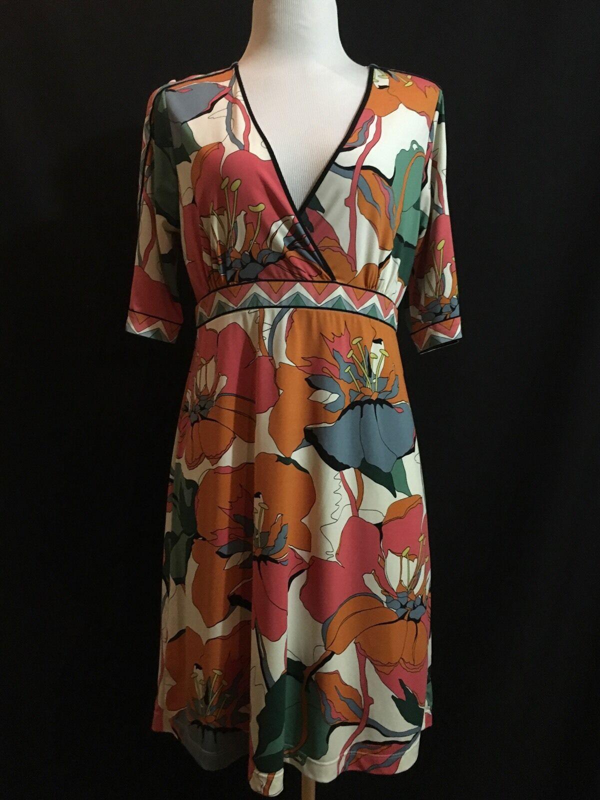 ..BCBG MAXAXRIA Women's Multi color Floral Open Shoulder Dress M